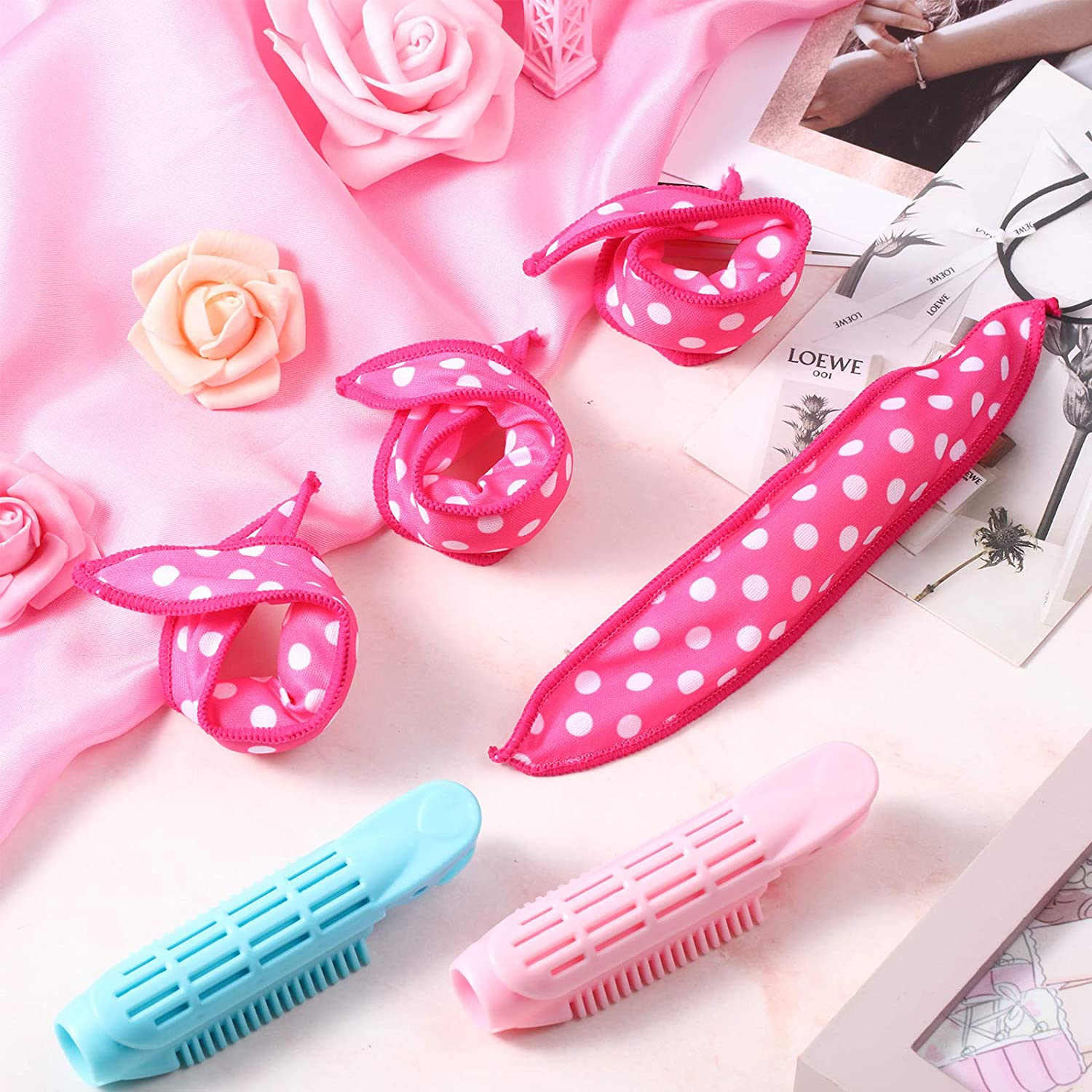 14 Pieces Volumizing Hair Root Clip and Hair Curler Rollers Set, Natural Fluffy Hair Clips Clamps Self Grip Volume Hair Curler Rollers Hair Styling Hairdressing Tools for Women Girls