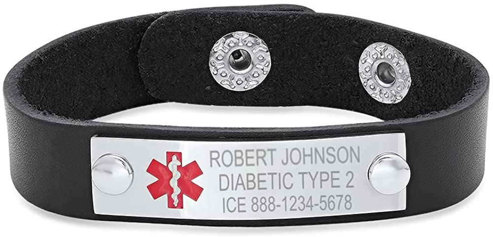 Free Engraving - Medical ID Bracelet with Genuine Leather