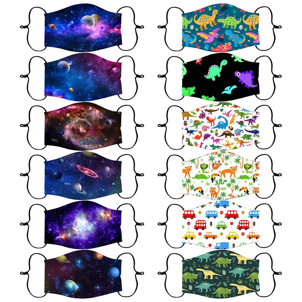 12PC Kid's Space Cartoon Printed Face Masks-Reusable Seamless Breathable Face Covering Anti-Dust Washable Adjustable Cloth Mask Face Protection for Boys and Girls Multicolor