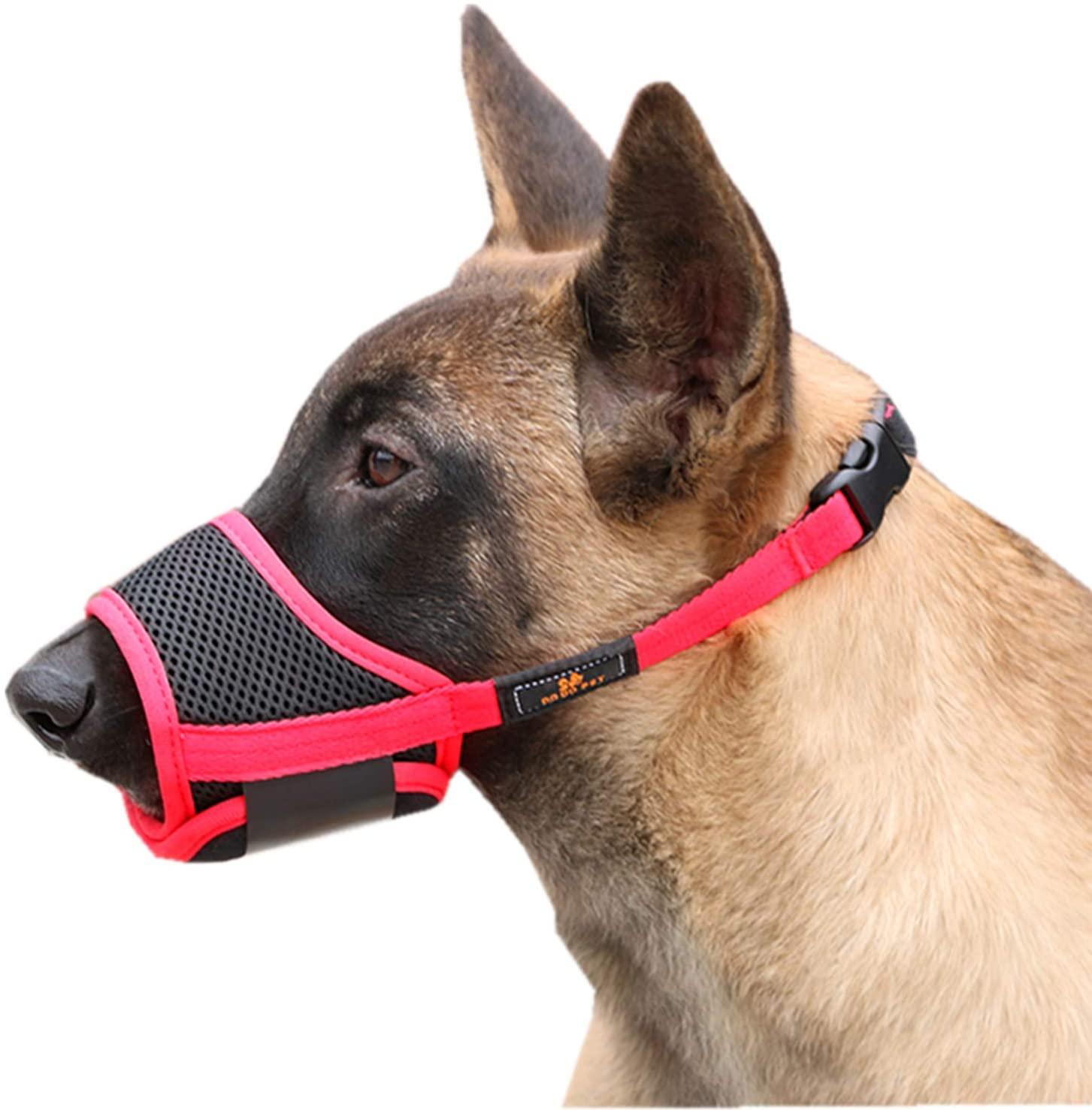 Cilkus Dog Muzzle Nylon Mesh Adjustable Breathable Soft Dog Muzzle, Anti-bite, Anti-Barking, Anti-Chaos, Pet Anti-Barking Muzzle, 4 Sizes for Large, Medium and Small Dogs