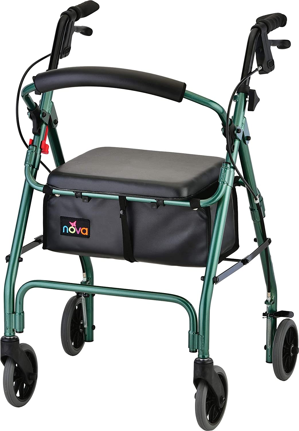 "NOVA Medical Products GetGo Classic Rollator Walker (Standard Size), Rolling Walker for Height 5'4"" - 6'1"", Seat Height is 22.25"", Color Green"