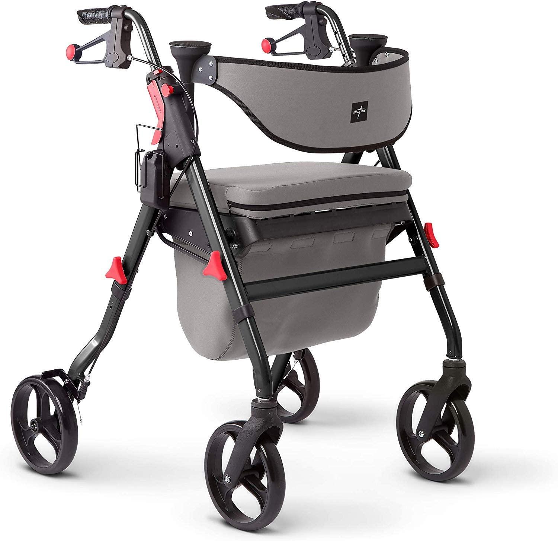 Andador con ruedas para Adulto con asiento-acolchado y soporte para la espalda