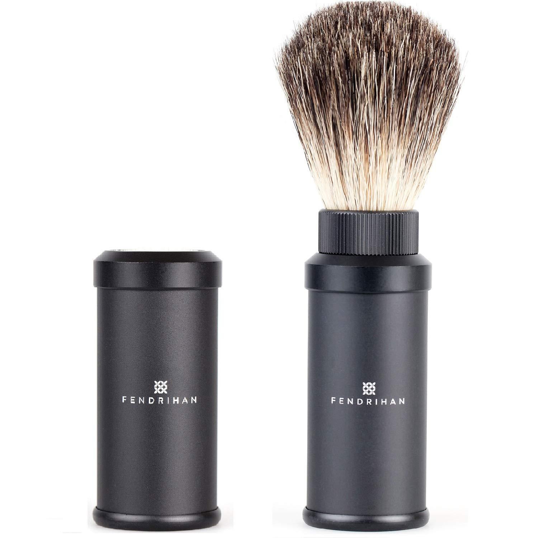 Fendrihan Black Anodized Aluminum Travel Shaving Brush Pure Badger Bristles (Made in Germany)