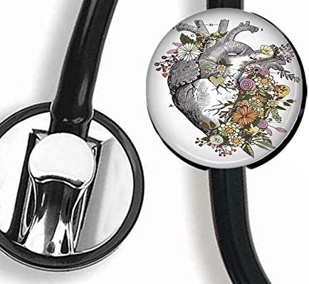 DuDu- Flowers Around The Heart - Stethoscope Tag,Steth ID Tag,Nurse Badge