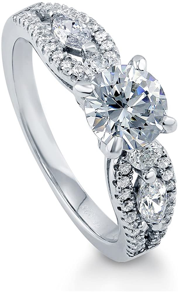 BERRICLE Rhodium Plated Sterling Silver Solitaire Promise Engagement Ring Made with Swarovski Zirconia Round 1.6 CTW