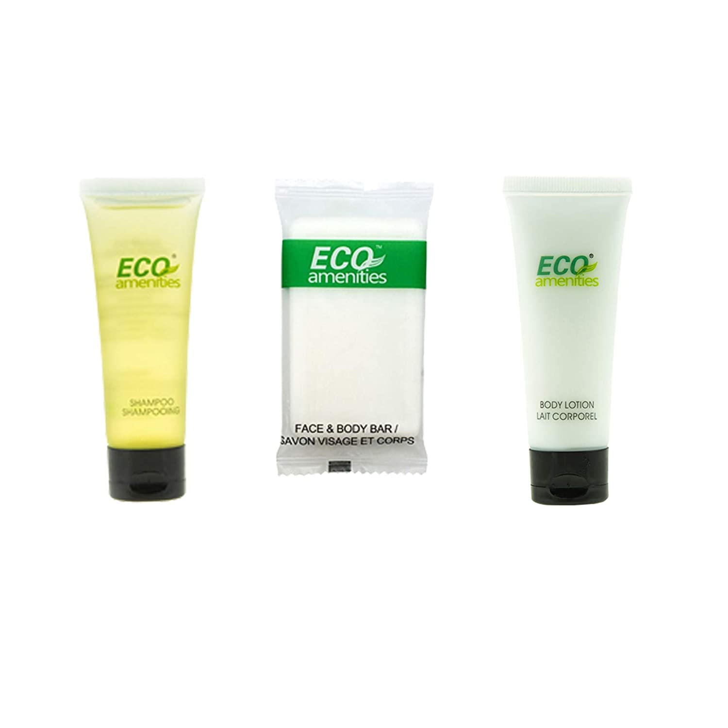 ECO amenities Shampoo and Conditioner 2 in 1, Body Lotion, Travel Sized Hotel Soap Bars 150pcs in ONE Package; Hotel Bathroom Guest Toiletries in Bulk