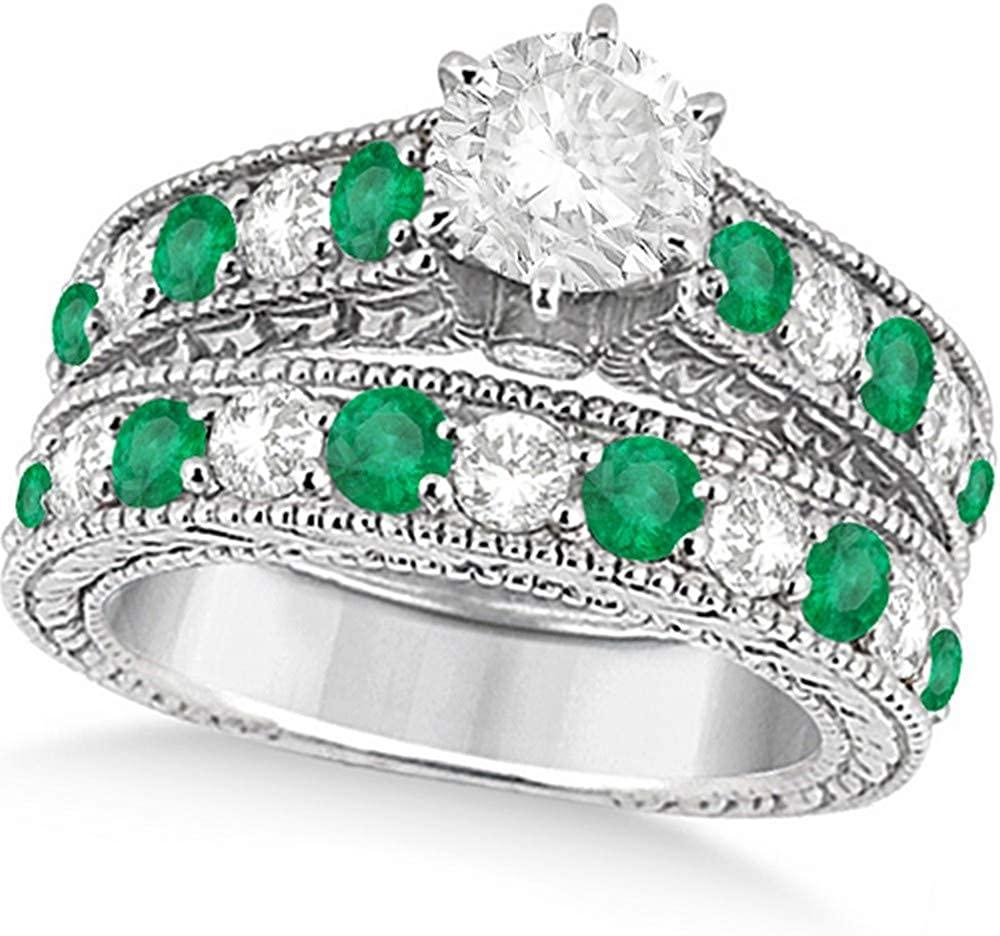 Women's Antique Diamond and Emerald Bridal Ring Set in Palladium (3.51ct)