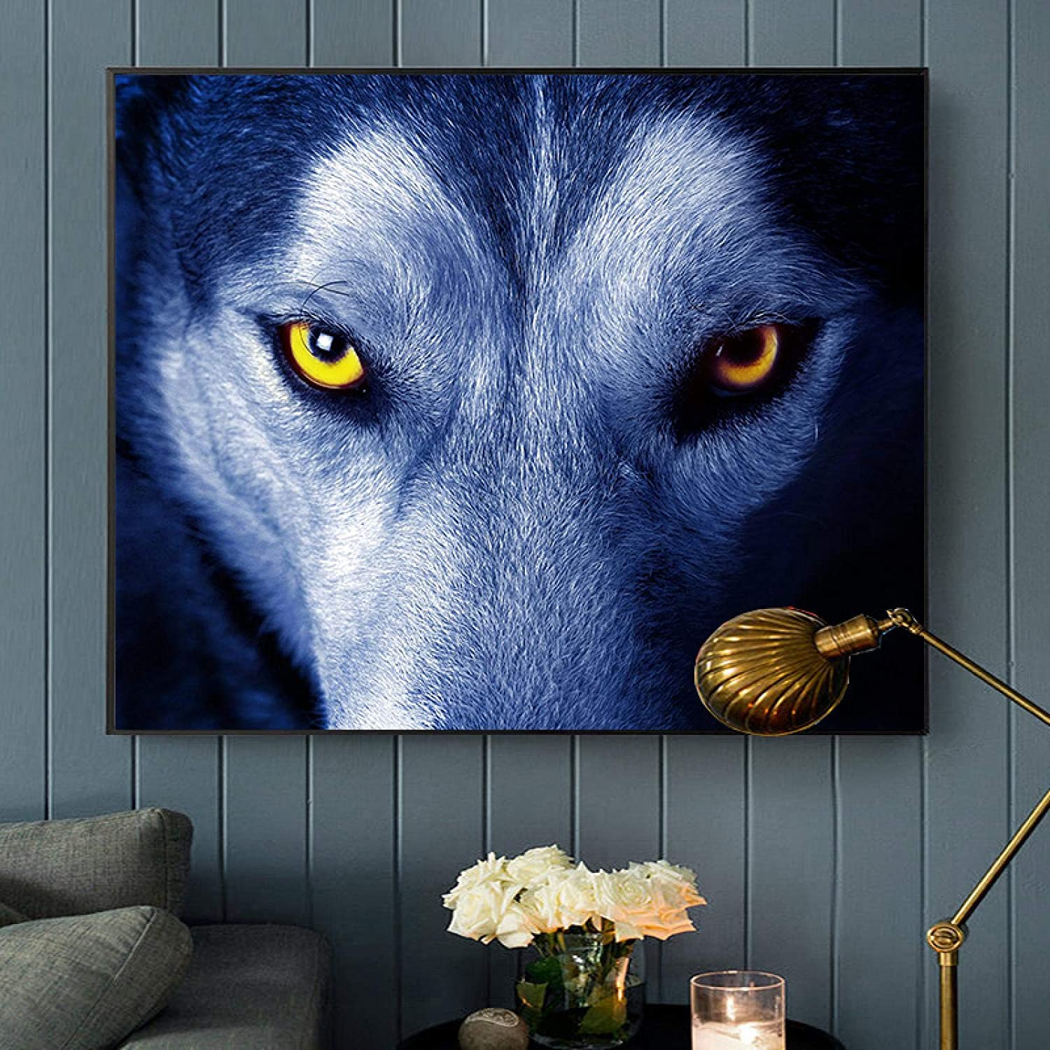 """KMMK Modern Minimalism Wolf Mural Picture Canvas Paintings Wall Art Posters and Prints Living Room Office Home Decor 15.7""""x19.6""""(40x50cm) Frameless"""