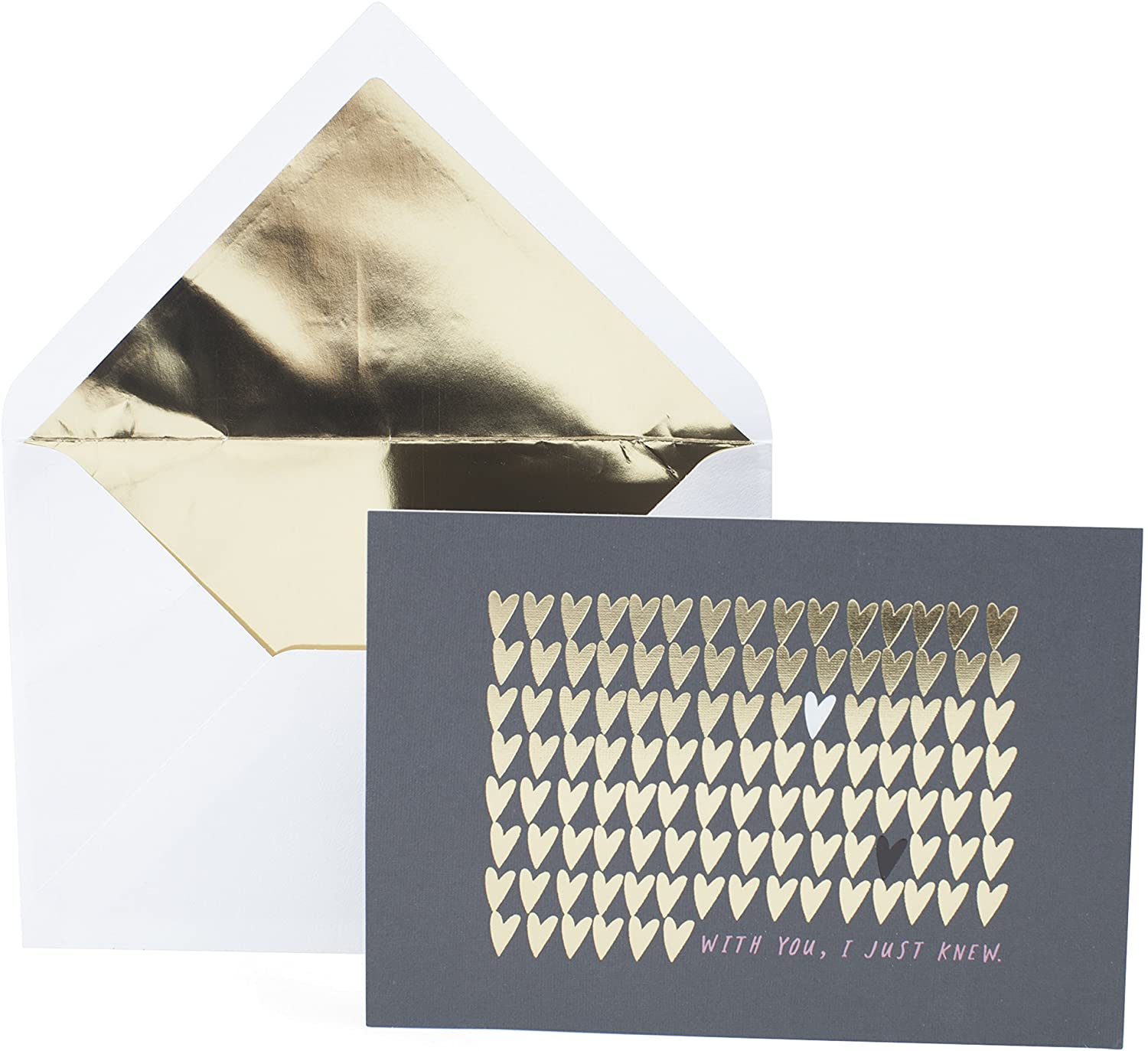 Hallmark Signature Anniversary Card, Love Card for Significant Other (Gold Foil Hearts)