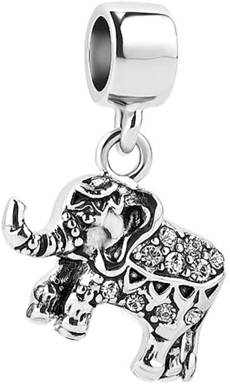 SBI Jewelry Birthday Birthstone Elephant Charm for Bracelets Crystal Dangle Animal Charms for Women Girls
