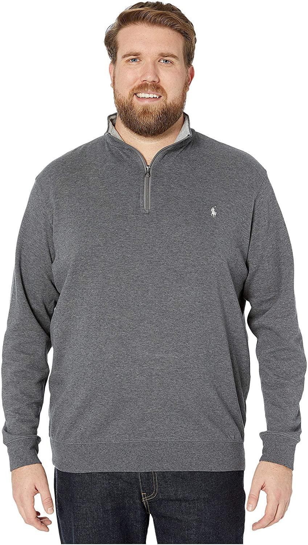 Polo Ralph Lauren Big & Tall Big & Tall Luxury Jersey 1/2 Zip Medium Flannel Heather 3XB