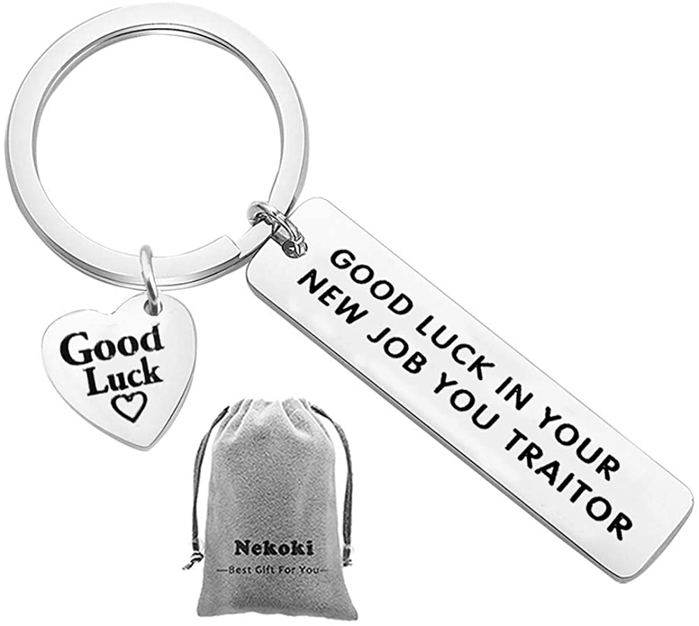 Coworker Leaving Keychain Funny Goodbye Gifts for Work Colleague-Good Luck in Your New Job You Traitor,Funny Farewell Gifts,Good Luck Colleagues Goodbye Gift