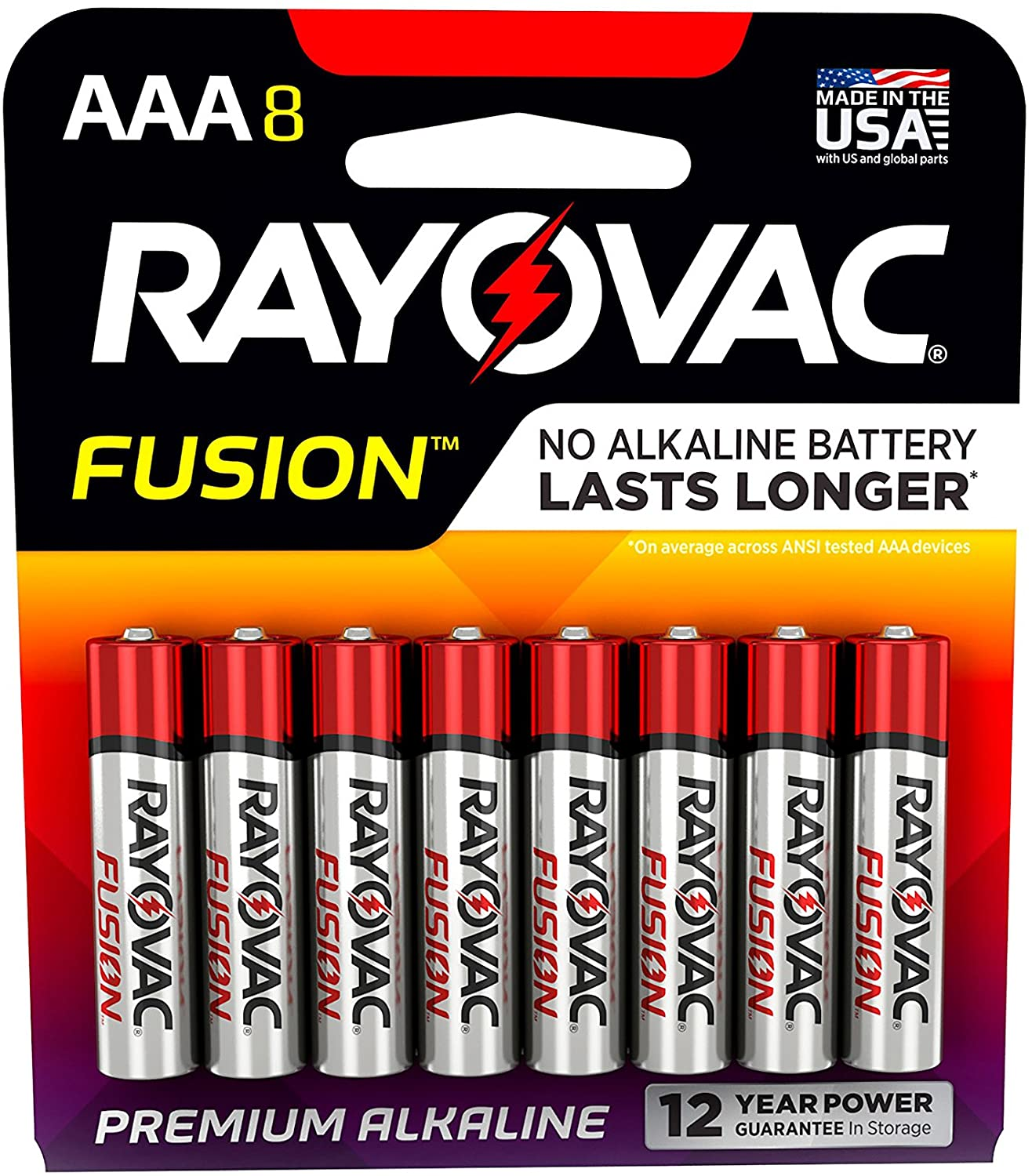 Rayovac Fusion AAA Batteries, Premium Alkaline Triple A Batteries, 8 Count