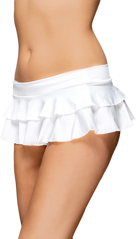Pin Up Doll Women's Flirty Double Layered Ruffle Mini Skirt