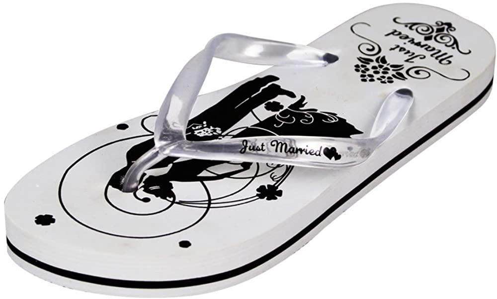 Wedding Flip Flops - Just Married Print On The Sand - Bridal Gift Wedding Gift Mr & Mrs Bride Groom