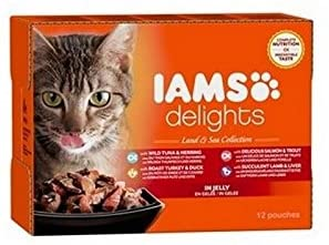 Iams Delights Land and Sea Collection in Jelly Cat Food 12 x 85g (1.02kg) (Pack of 4)