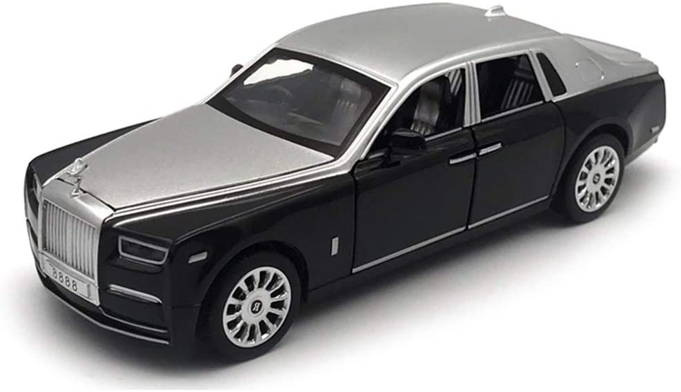 GAOQUN-TOY 1:28 Alloy Die-cast Scale Model Car/Compatible with Rolls-Royce Phantom/Sound and Light Car Model Birthday Collection Ornaments (Color : Black)