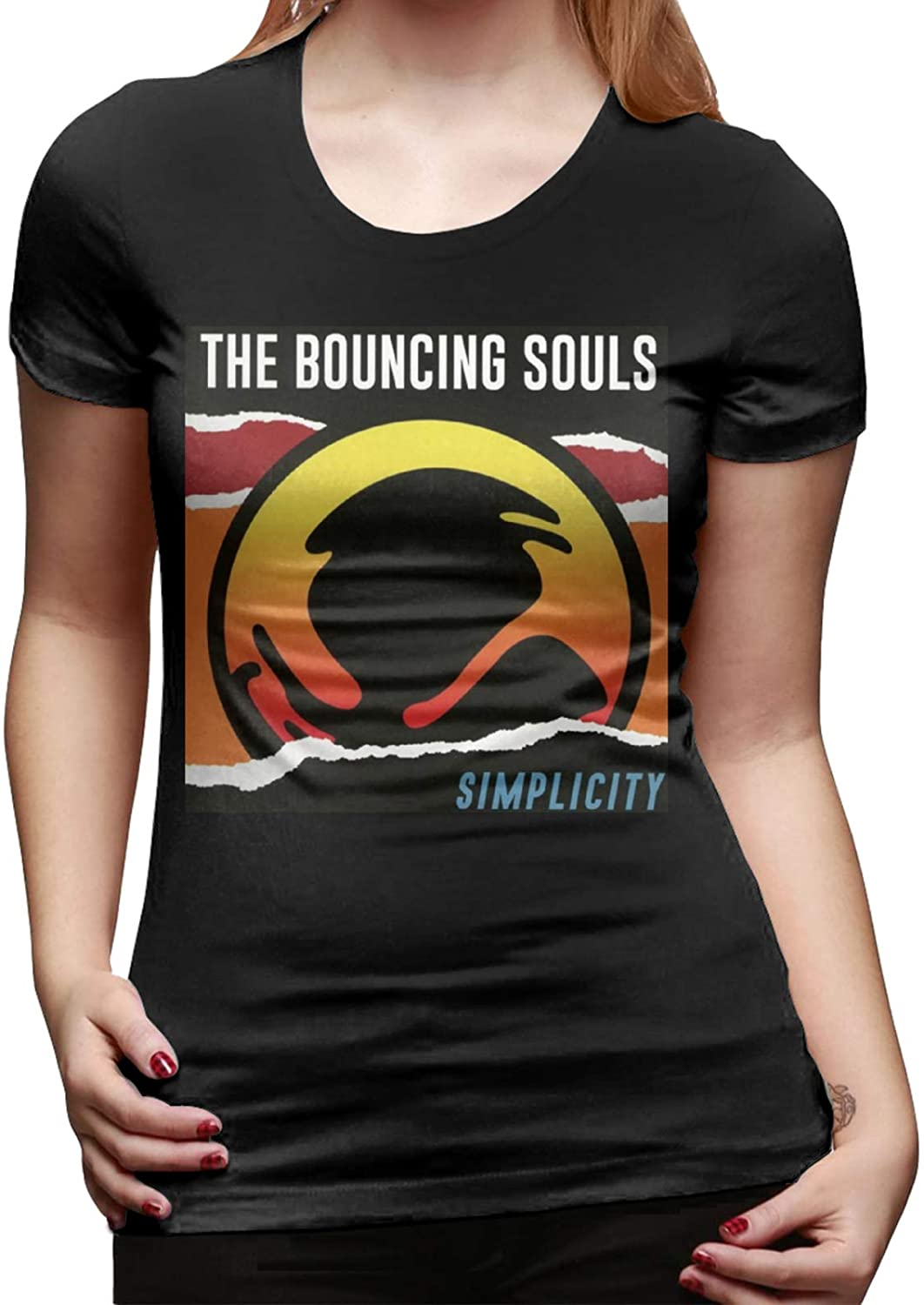 Women's Classic-Fit Short-Sleeve The Bouncing Souls T-Shirt Basic Short Sleeve T Shirts Crewneck Tee Shirt Tops Trendy Black