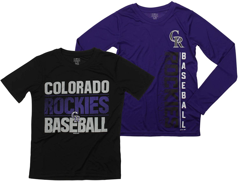 Outerstuff MLB Boys Young Baseball Fan Two Performance T-Shirt Set (Small 8, Colorado Rockies)