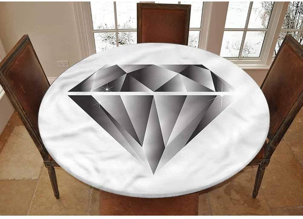 LCGGDB Diamonds Elastic Edged Polyester Fitted Tablecolth -Symbol of Wealth Triangle- Large Round Fitted Table Cover - Fits Tables up to 45-56