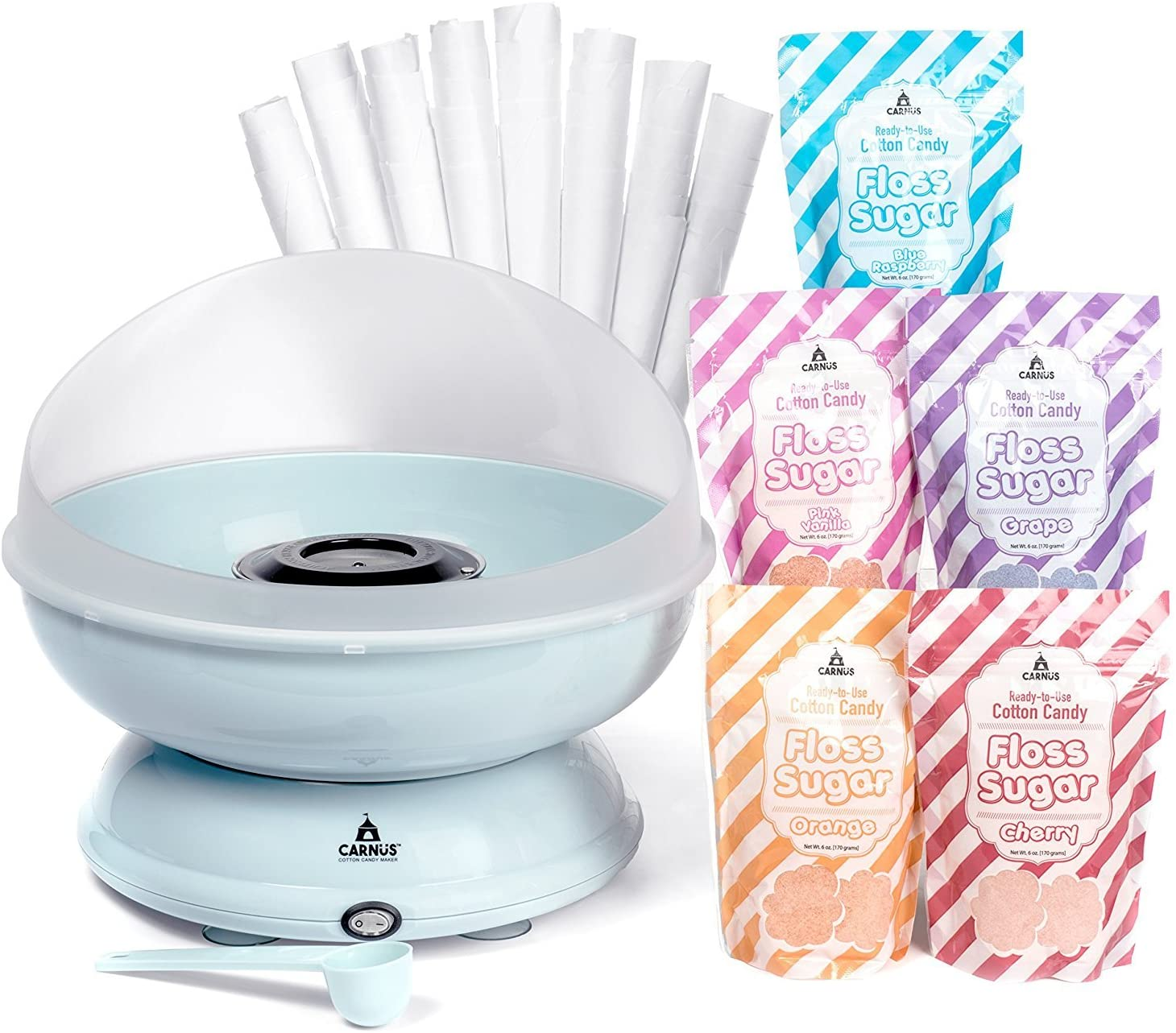 Carnus CN1000-S Cotton Candy Maker, 5 Sugar Packs