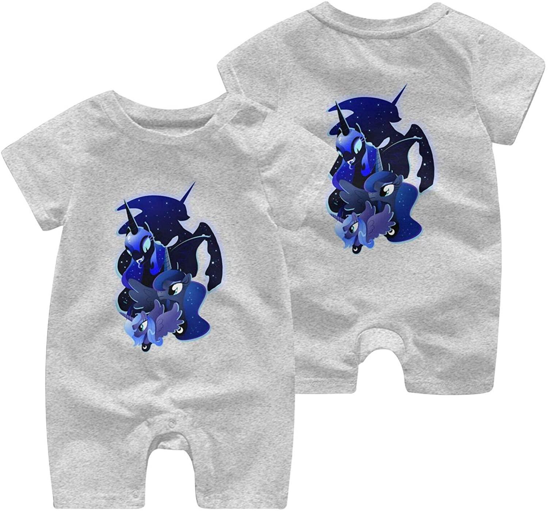 Nsafinhwv My Little Po-ny Newborn Baby Short-Sleeve Body Suits Cotton Jumpsuit Gray