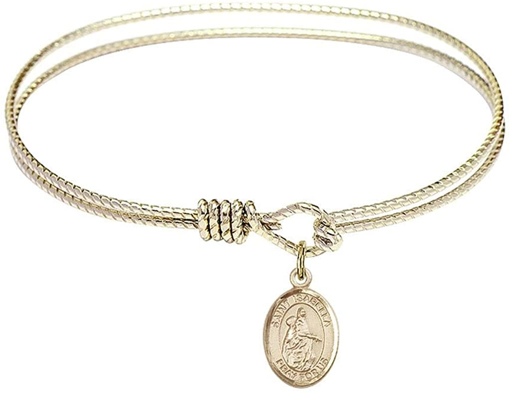 bliss 6 1/4 inch Oval Eye Hook Bangle Bracelet with a St. Isabella of Portugal Charm./Saint Isabella of Portugal is The Patron Saint of Peace/Charities. Memorial Day July 4th./Peace/Charities