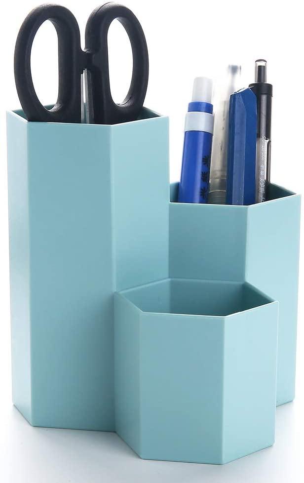 Vicoter Desktop Pencil Pen Holder, 3 Slots Pen Cup for Desk Office Stationery Organizer Makeup Brush Holder (Blue)