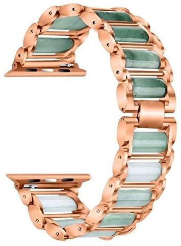 WSXQAZ A Prueba De Sudor Y Duradero Emerald Jade Strap for Apple Watch Band 38/42mm Stainless Steel Strap 5/4/3/2/1 Bracelet Apple Watch 44/40mm Regalo Perfecto (Color : Rose Gold, Size : 42mm 44mm)