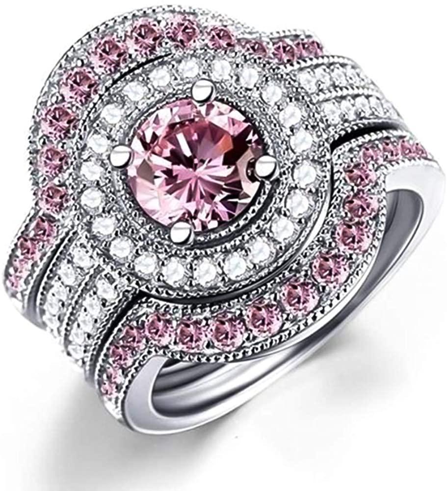 ocijf179 Glitter Two Tone Round Cubic Zirconia Inlaid Ring Bridal Wedding Jewelry Gift - Us7