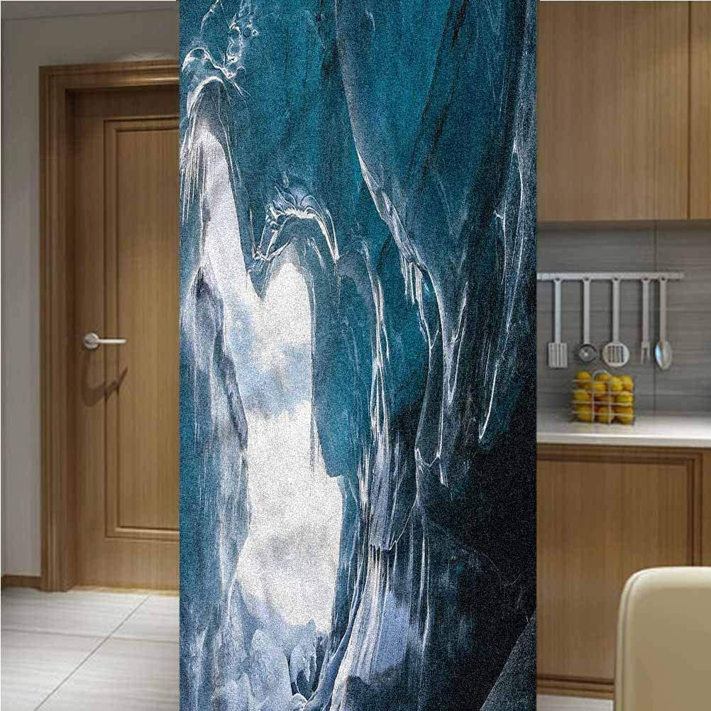 LCGGDB Cave ONE Piece Window Privacy Film Static Window Clings,Vatnajokull in Iceland Non Adhesive Frosted Home Office Film Privacy Window Sticker,47.2