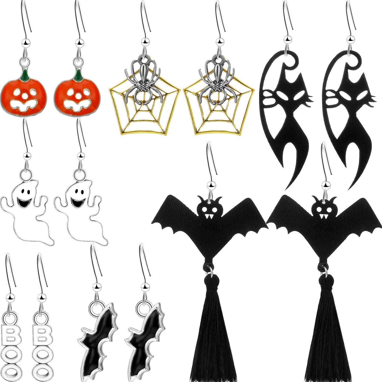 7 Pairs Halloween Earrings for Women Halloween Theme Drop Dangle Earrings Sets