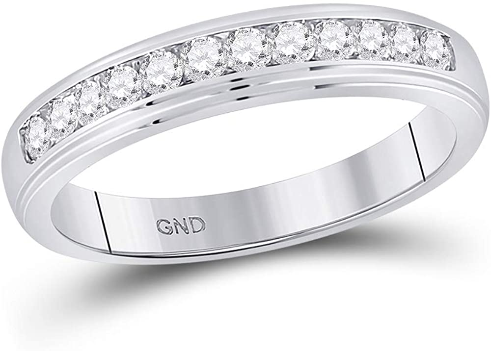 10kt White Gold Mens Round Diamond Wedding Channel-Set Band Ring 1/2 Cttw