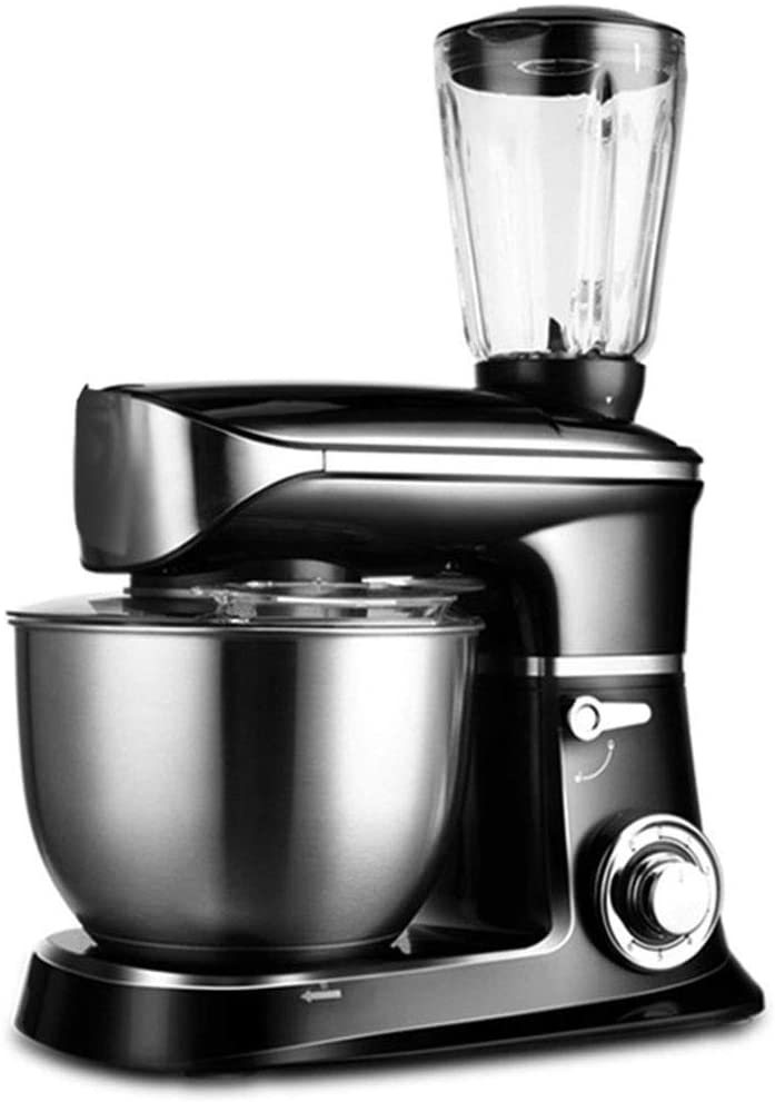 XIAO WEI Stand Mixer for Baking All-in-one Food Processor with K-Beater Dough Hook Balloon Whisk juicer Mixer and 6.5 Liter Bowl for Baking Cakes for ice Cream Cakes Black Multifunction