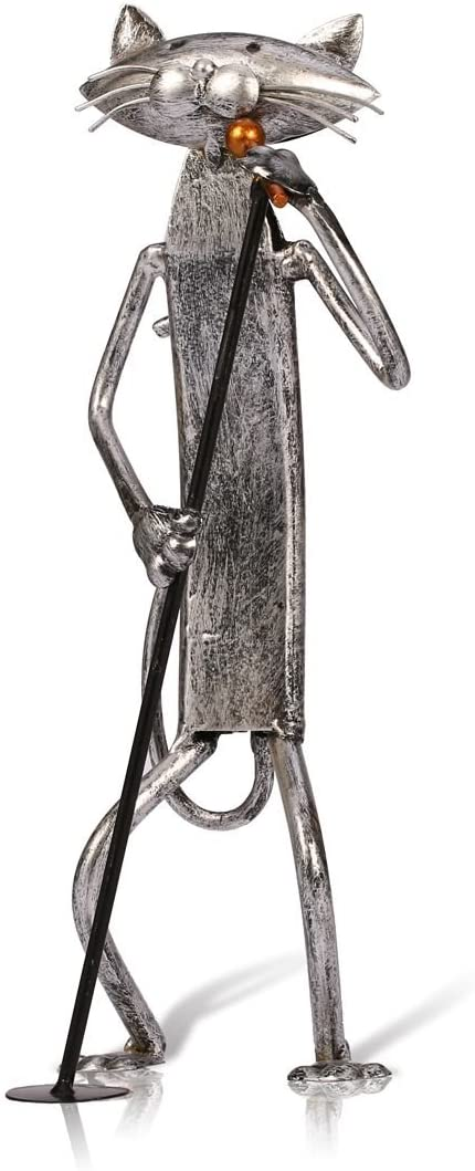 Tooarts Music Cat Metal Sculpture Iron Statue Handwork Handicrafts, 3 Funny Design