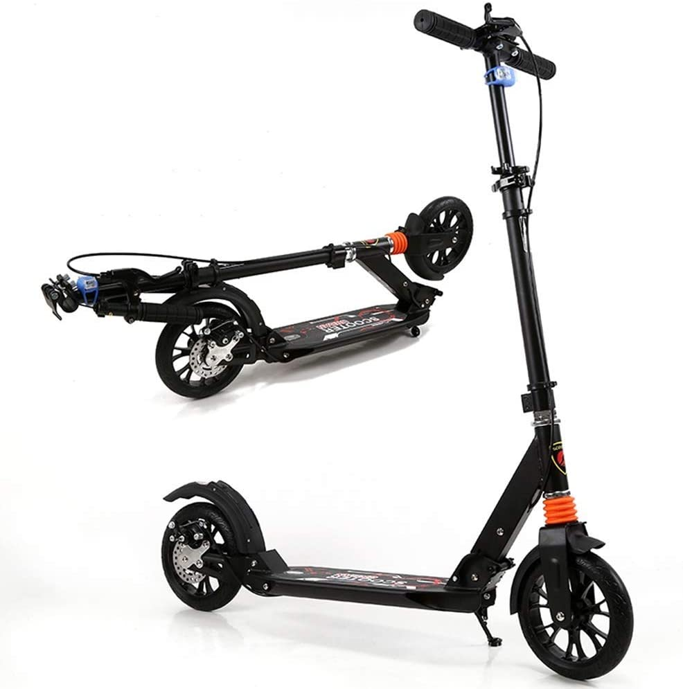 YYIN Adjustable Height Adult Kick Scooter with Big Wheels, Folding Portable City Commuter Scooters, Birthday Gifts for Big Kids, Boys Girls, Support 150kg, Non-Electric A Kick Scooter