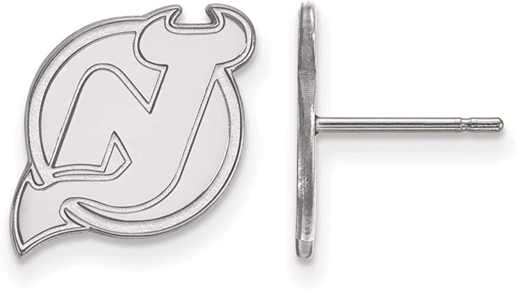 10K White Gold NHL New Jersey Devils Small Post Earrings by LogoArt