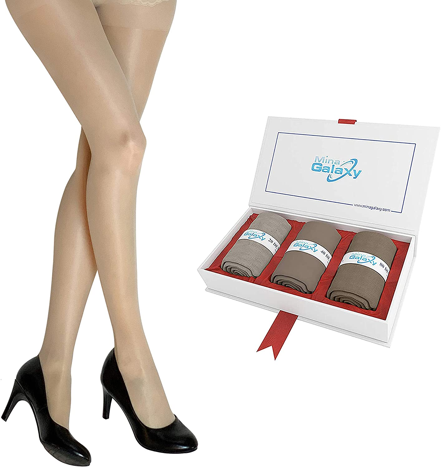3 Pairs Pantyhose for Women(sheer/opaque/super opaque) with Control Top in a lovely Gift Box.