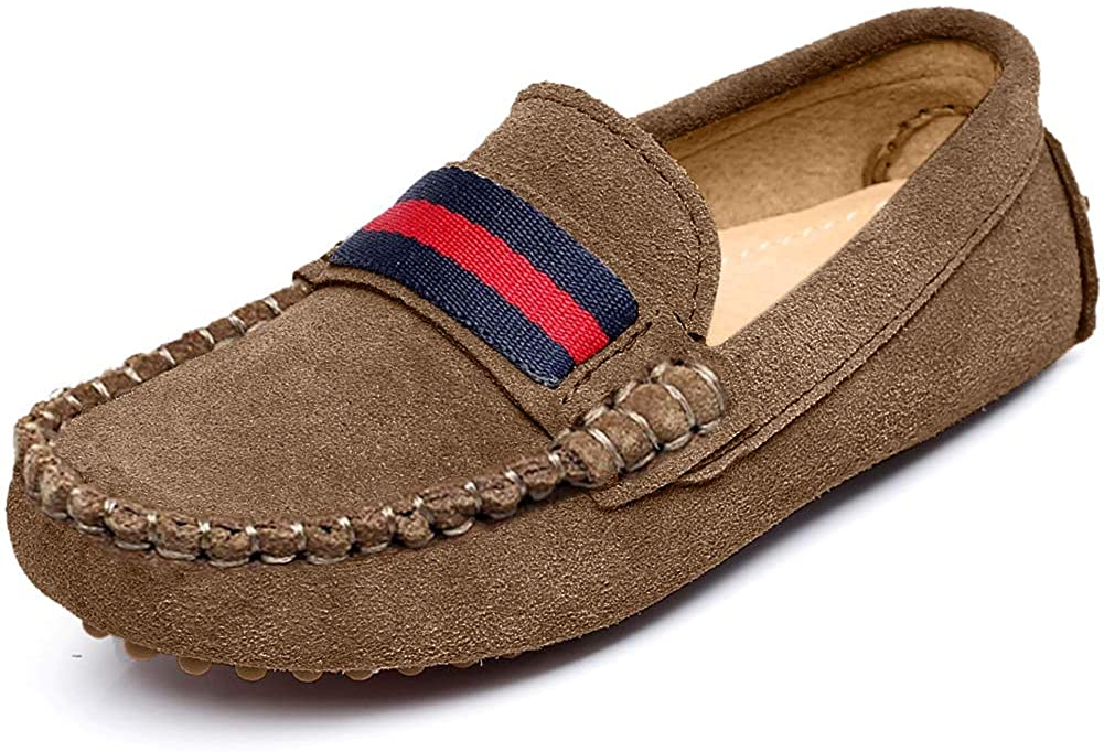 Shenn Boys Girls Cute Strap Slip-On Comfortable Dress Suede Leather Loafer Flats