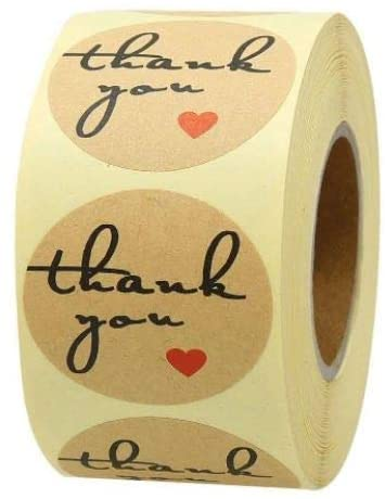 Thank You Heart Stickers 1 Inch Shower Wedding Stationary Gift Package Label 500 a Roll