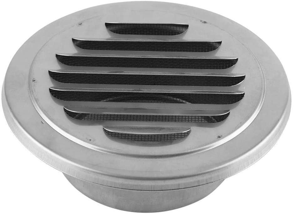 Jadeshay Home Wall Air Vent,Stainless Steel Wall Air Vent Round Flat Grille Ducting Ventilation Cover Outlet