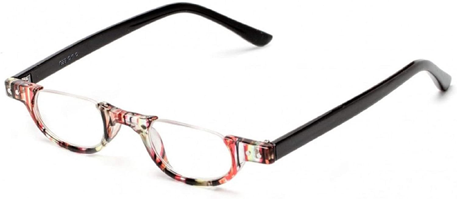 The Hunter Colorful Retro Half Under Frame Rimless Round Vintage Reading Glasses +2.25 Red Stripe (Carrying Case Included)