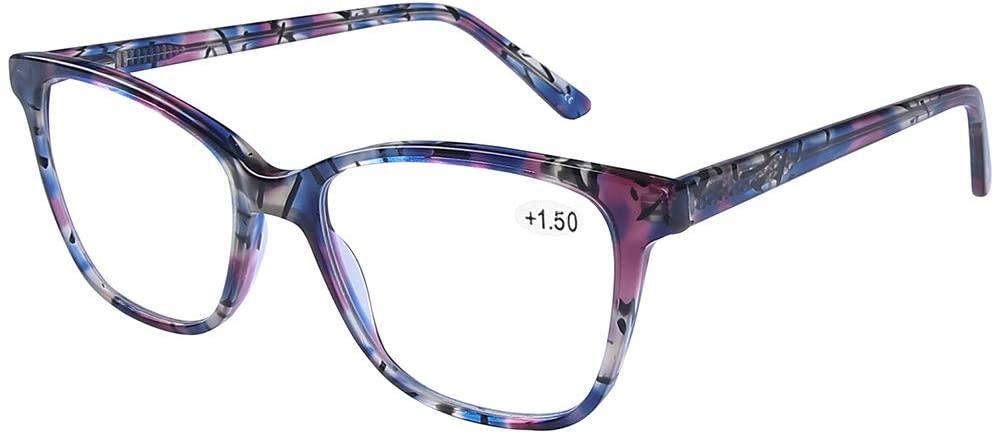 DOOViC Computer Reading Glasses Blue Light Blocking Anti Eyestrain Designer Stylish Spring Hinge Readers 1.0 Strength