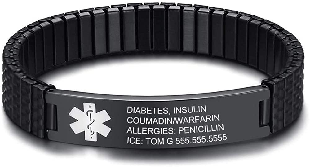 LanM Free Engraving Medical Alert ID Bracelets for Mens Womens 7.0-8.5 Inch Emergency Alert ID Bracelets Bracelets Stainless Steel Medical Alert Bracelets for Men