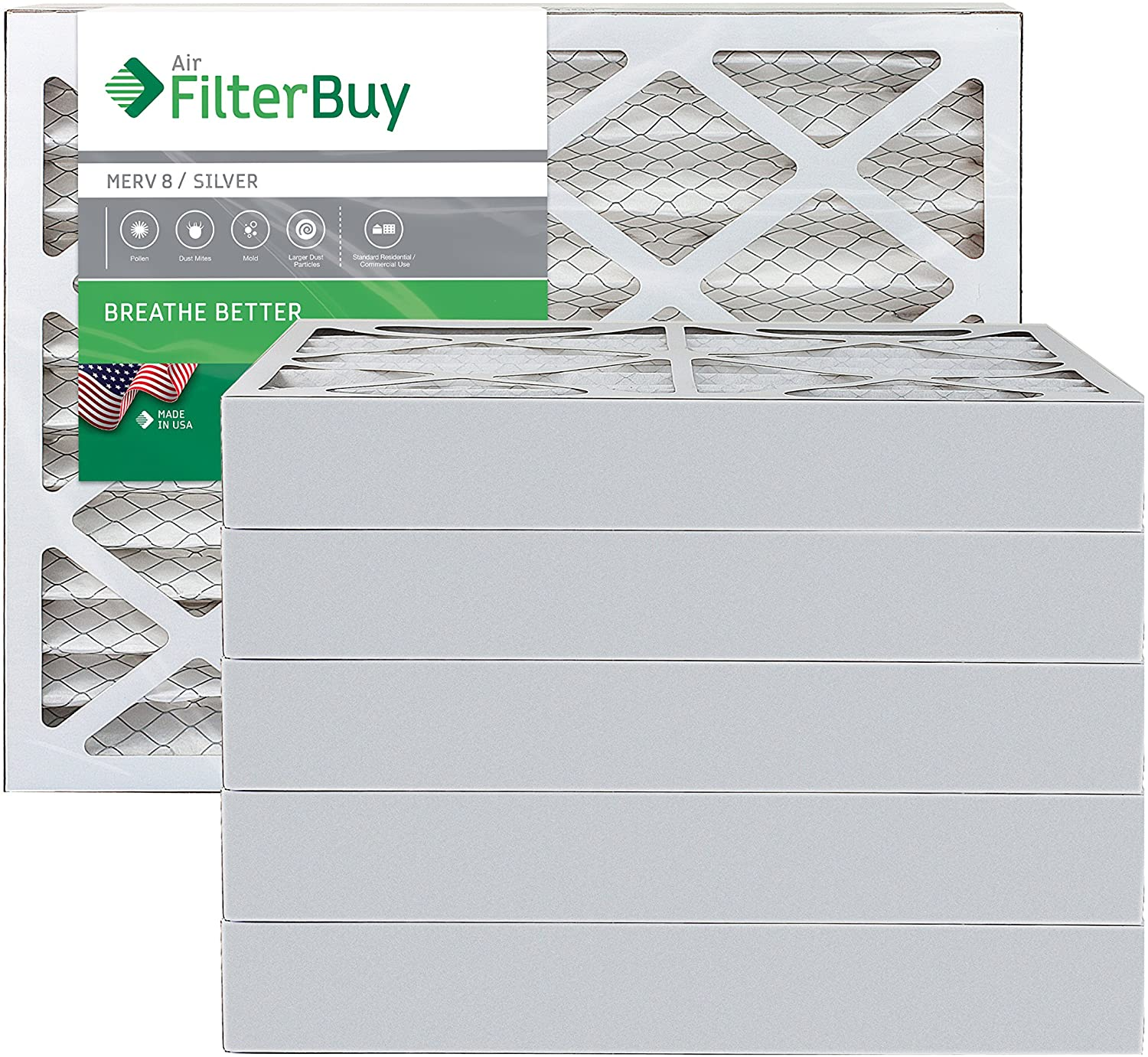 FilterBuy 18x20x4 MERV 8 Pleated AC Furnace Air Filter, (Pack of 6 Filters), 18x20x4 – Silver