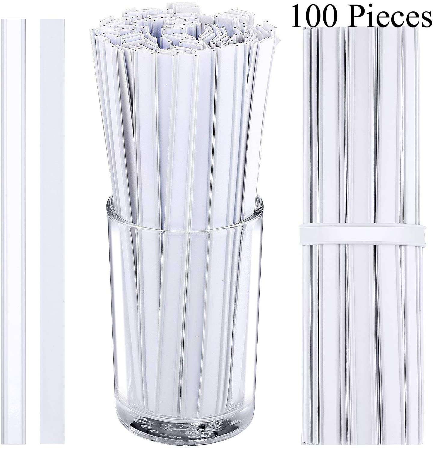 100 Pieces Double Wire Nose Bridge Clips Adhesive Wire Sealing Strips Bendable Peel and Stick Tin Ties Plastic Coffee Bag Ties Sealing Strip (White)