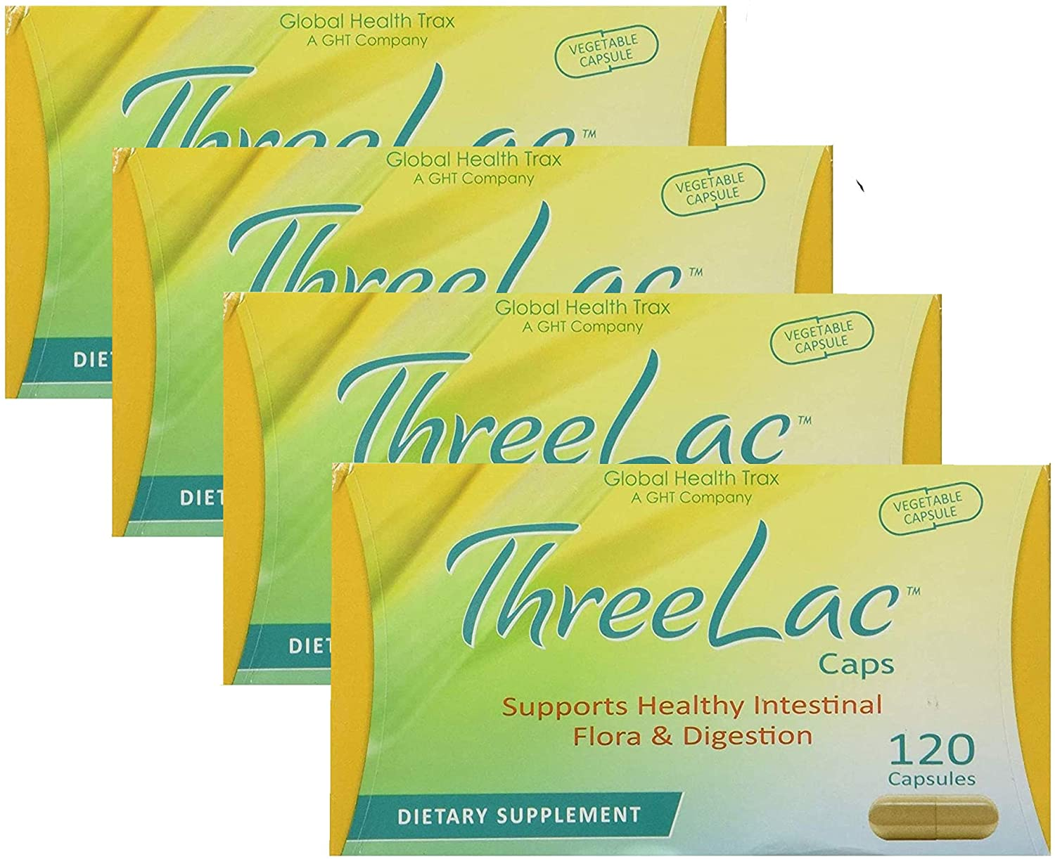 Global Health Trax Threelac Caps Supports Healthy Intestinal Flora & Digestion Dietary Supplement Probiotic 120 Capsules Pack 4