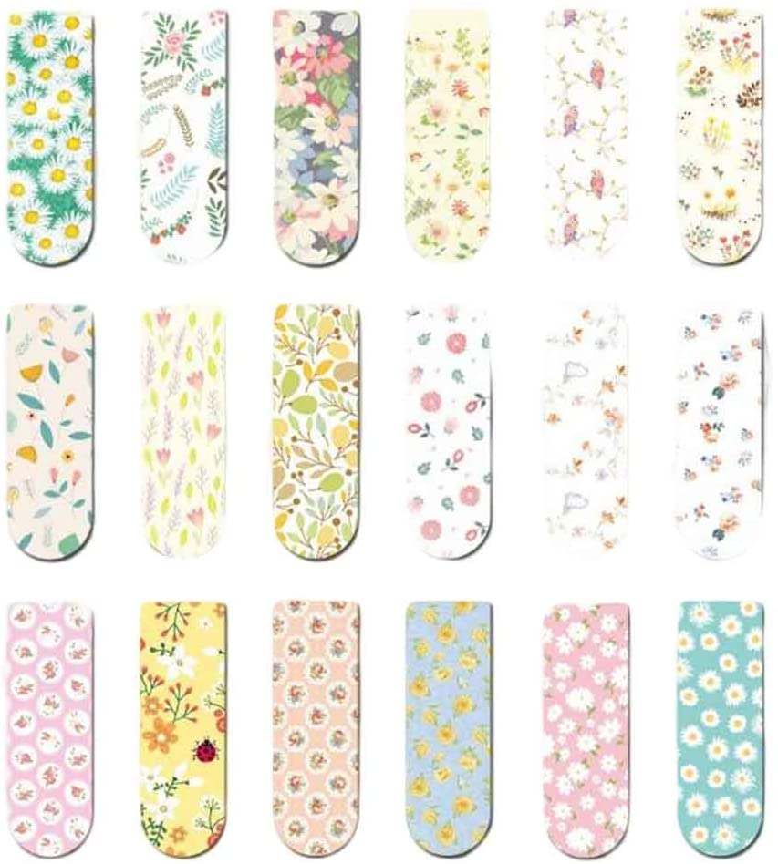 18-Packs Spring Flowers Mini Magnet Bookmark Magnetic Sticker Paper Clips