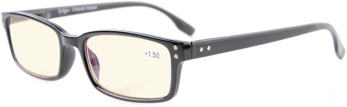 Eyekepper Classical Rectangular Frame Spring-Hinges Computer Reading Glasses Readers Eyeglasses (Black, Yellow Tinted Lenses) +3.0