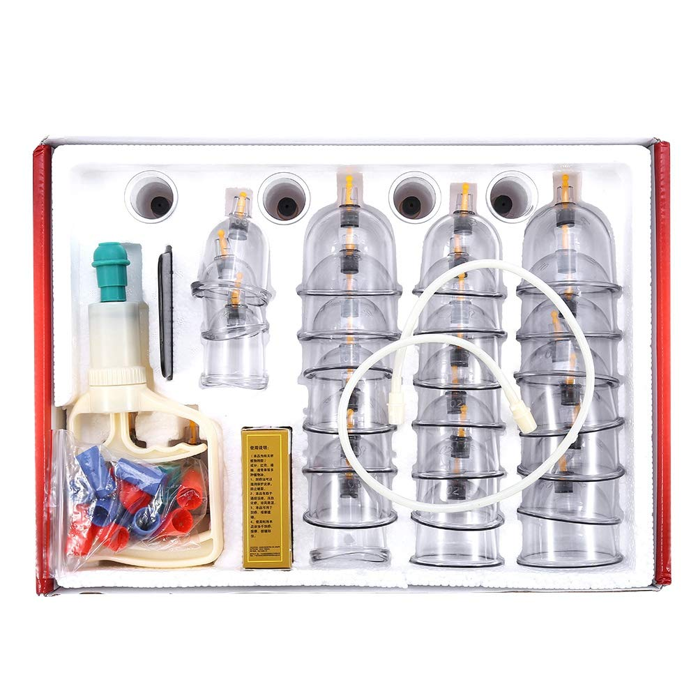 Mavis Laven 32 Cups Massage Cupping Set Massage Pain Relief Vacuum Suction Plastic Cupping Kit